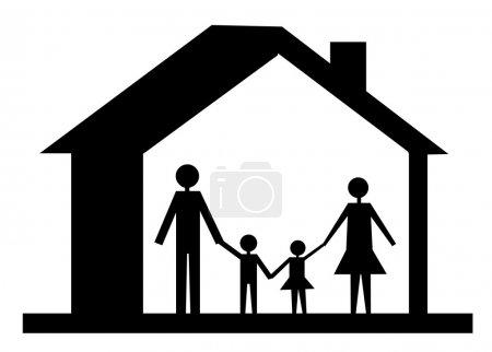 家庭的图标和孤立的白色背景上的房子