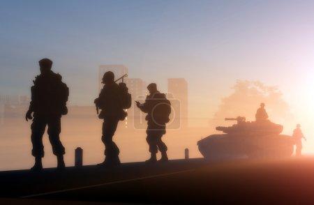 军人剪影图