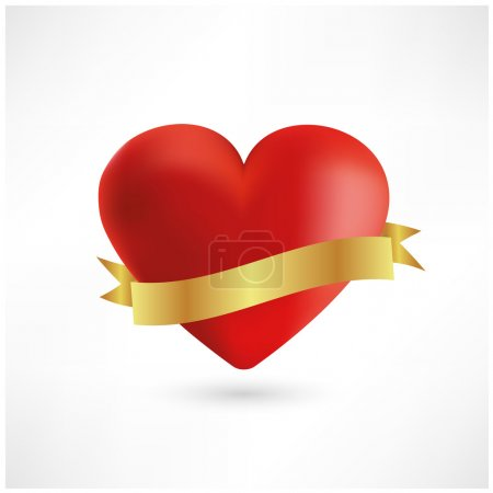 Red heart with golden ribbon